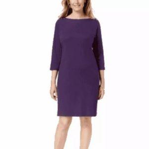 Karen Scott Womens Petite Cotton Boat-Neck Dress